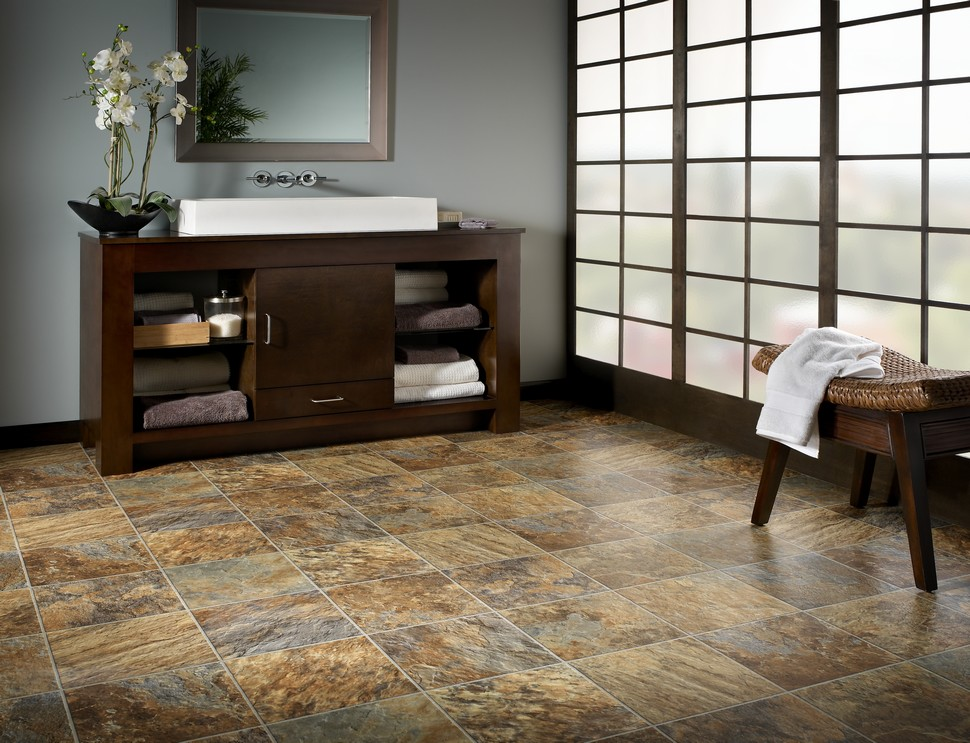 River rock tile flooring